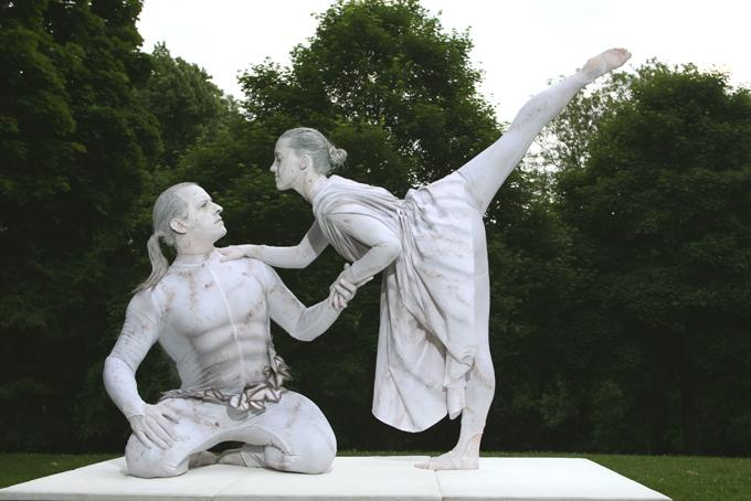 booking agent for flair human statue duo
