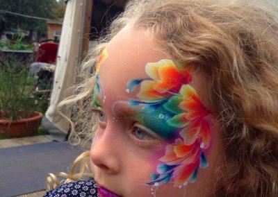 Neon flowers girls face art by Brierley Thorpe