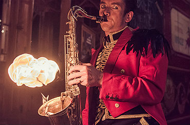 booking agent Des O'connor flaming saxaphone