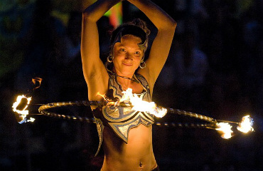 hire FlameOz Fire Show Fire Hula Hooper