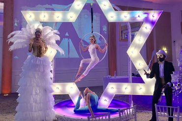 hire giant led star aerial hoop act